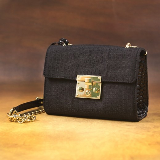 Marco Valentino Fabric & Leather Sanke Skin Women Hand Bag Black 6002