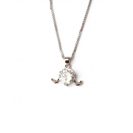 Homhul Platinum Plated Sterling Silver Necklace With Stone Pendant