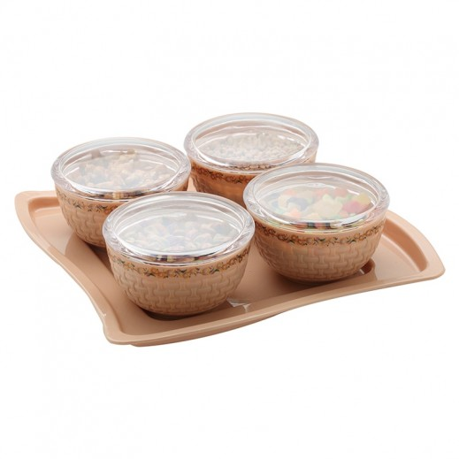 Regal Air Tight Container with Serving Tray (Assorted Colors) -  4 Pieces