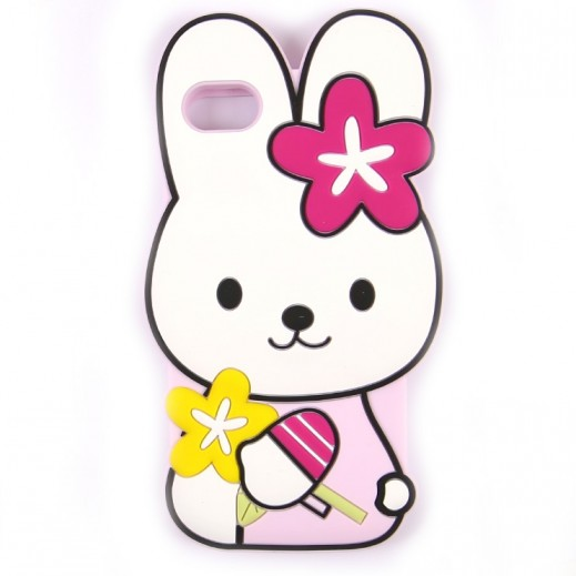 WK Design Silicone Cute Rabbit Case for iPhone 7 / 8 - Pink