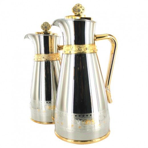 My Dot Coffee Tea Deluxe Vacuum Flask Set Silver Gold