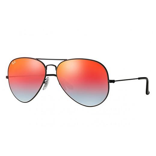 Ray-Ban Aviator Black/Orange Gradient Flash Unisex Sunglasses RBN 3025 002 4W 55 mm
