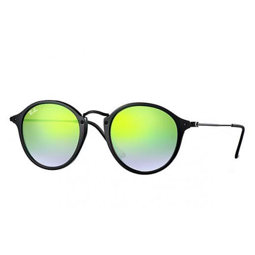 98ed515c46e2 Details. Ray-Ban Round Fleck Black/Green Gradient Flash Unisex Sunglasses  RBN 2447 901 ...