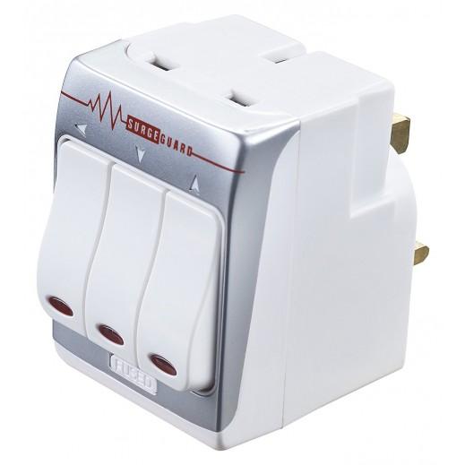 Masterplug UK Style Indoor Switched Adapter Plug 3 Way 13A - White