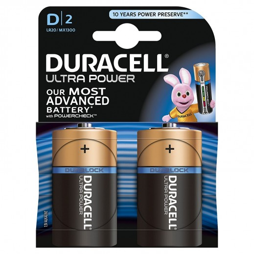 Duracell Alkaline D Size Battery Ultra Power 2 Pack