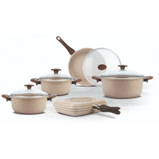 Thermo Ad Star Aluminium Cast Granite Cookware Set -10 Pieces