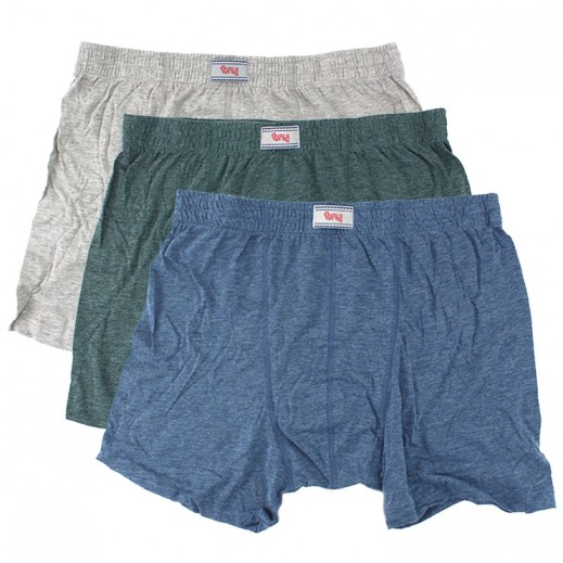 Try Underwear Men's Colored Boxer Shorts Melange Assorted 3 Pieces (M - XXXL)