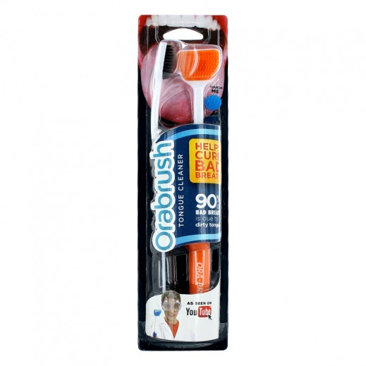 Orabrush Tongue Cleaner 2 Pieces -Orange & Black