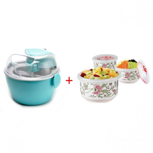 Primera Ice Cream Maker + 3 Bowls Set with Lid