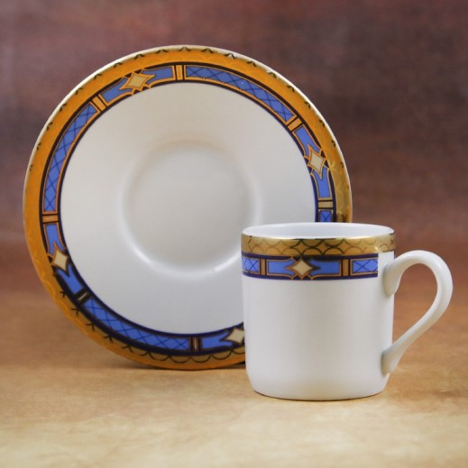 Tognana Porcelain Coffee Cups & Saucer Set Blue and Gold -12 Pieces