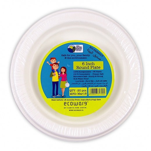 Ecoware Biodegradable Round Plates 6 inch - 20 Pieces
