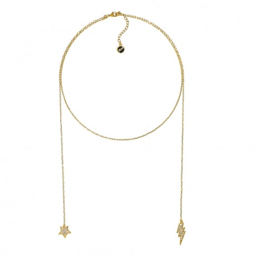 Karl Lagerfeld Hanging Star & Lighting Gold Crystal Necklace - delivered by Beidoun after 3 Working Days