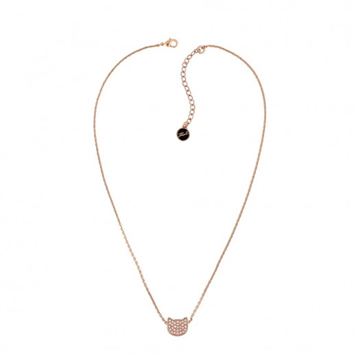 Karl Lagerfeld Sil Choupette Crystal Rose Gold Necklace - delivered by Beidoun after 3 Working Days