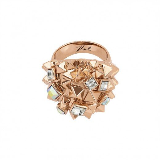 Karl Lagerfeld Pyramid Cluster Crystal Rose Gold Ring - Size 55 - delivered by Beidoun after 3 Working Days