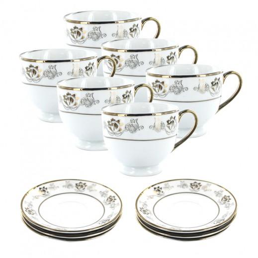 Porceline Cup & Saucer 6 Pieces Set (Golden Rim Design)