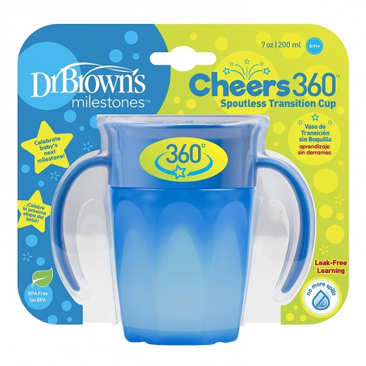 Dr.Brown's Cheers 360 Spoutless Transition Cup 200 ml (6+ Months) Blue