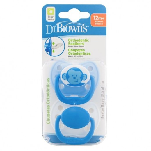Dr. Brown's Ortho Classic Shield Pacifier Stage 3 12+ Months Blue 2 Pieces