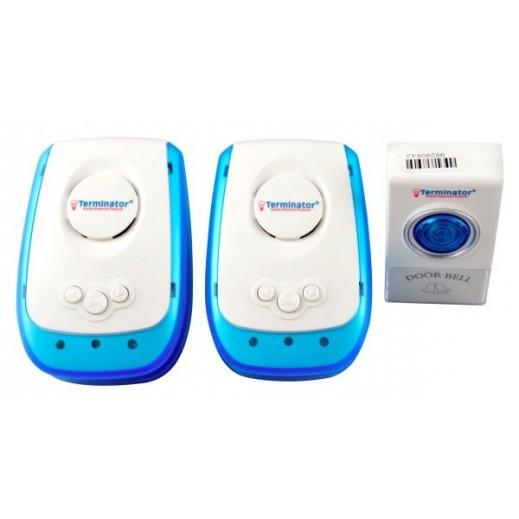 Terminator wireless digital Doorbell with 2 receiver– White & Blue