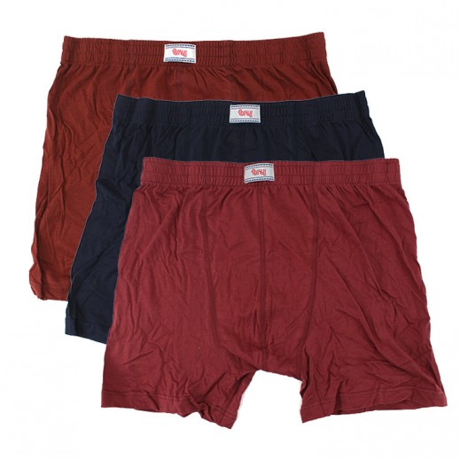 Try Underwear Men's Colored Boxer Shorts Assorted 3 Pieces (M - XXL)