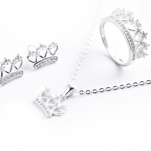 W.M Zircon Swis Sterling Silver With White Stones Jewellery Set Size 7 (Model: N6-23)