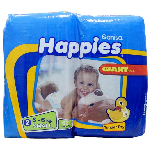 Happies Small Dry Diapers 62 pieces