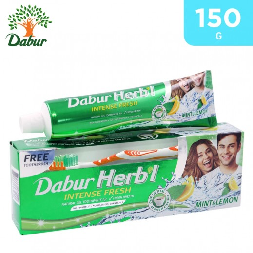 Dabur Herbal Fresh Gel (Mint & Lemon) Toothpaste 150 g + Toothbrush Free