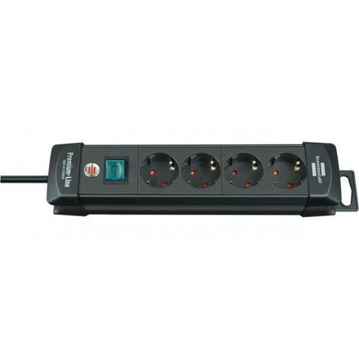 Brennenstuhl  4-Way 1.8 M Extension Socket - Black