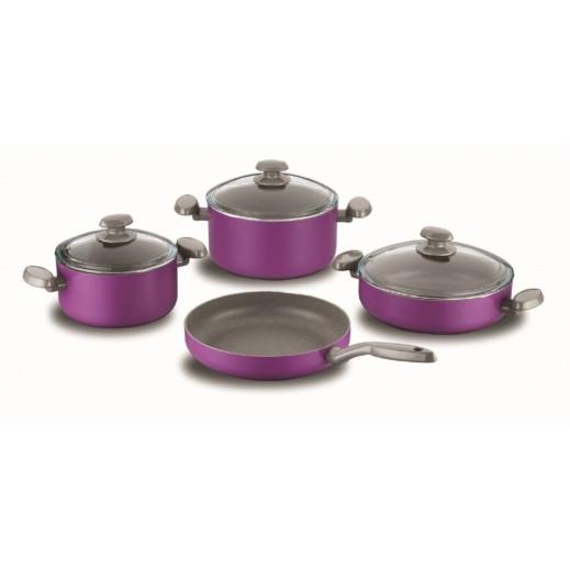 Korkmaz Mia Erguvan Aluminium Cookware Set Purple - 7 Pieces