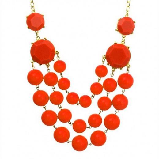 Helen Bib Buble Statement Orange Necklace, M00324