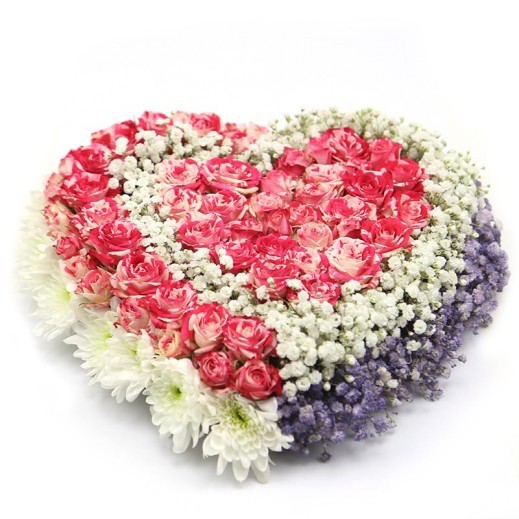 Heart Mix Flowers Bouquet - delivered by A&K FLOWERS
