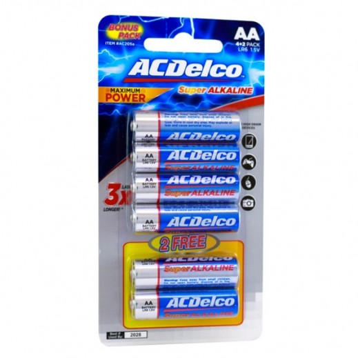 AC Delco Alkaline AA-6 prom Batteries 4+2 Free