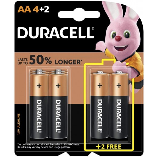 Duracell AA Alkaline Batteries 4+2 Free Pack (1.5V)