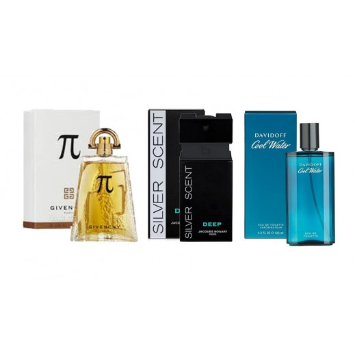 Set Of 3 Perfumes For Men (Givenchy Pi  + Jacques Bogart Silver Scent Deep + Davidoff Cool Water )