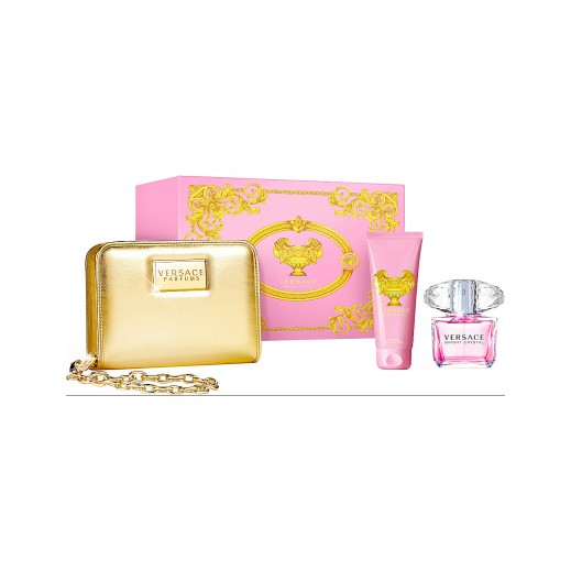 Versace Gift Set For Women (Bright Crystal EDT 90ml + Body Lotion 100ml + Versace Handbag)