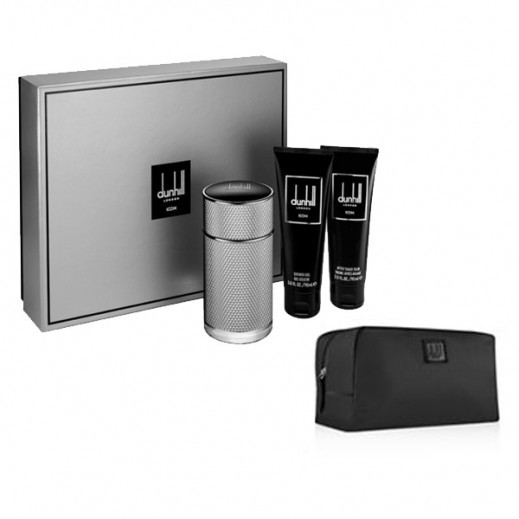 Dunhill Icon Gift Set For Him EDP 100 ml + After Shave Balm 90 ml + Shower Gel 90 ml + Toiletry Bag