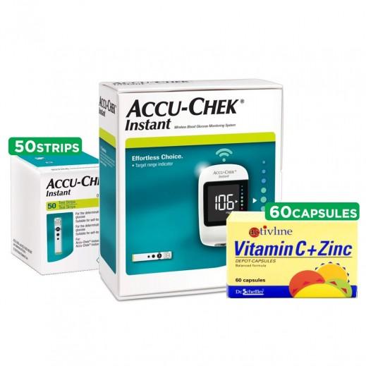Accu-Chek Instant Kit + 50 Strips + Vitamin C + Zinc 60 Capsules