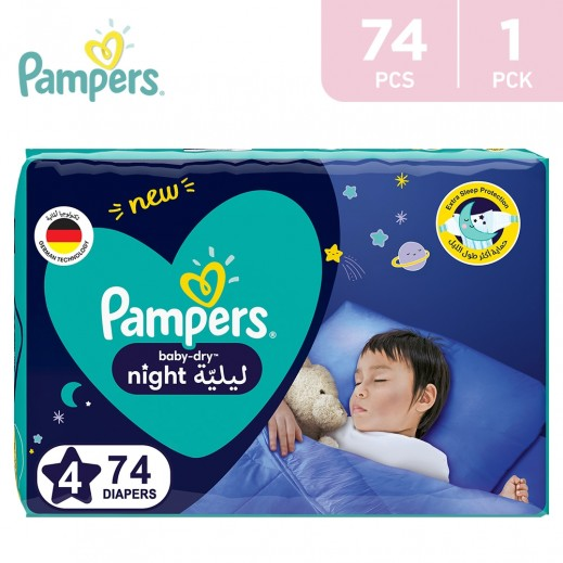 Pampers Baby - Dry Night Diapers Size 4 (10-15 Kg) 74 Pieces
