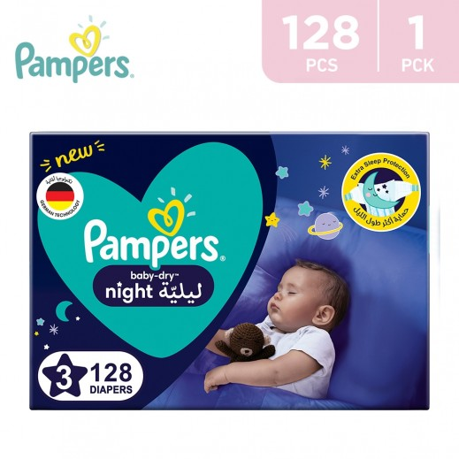 Pampers Baby - Dry Night Diapers Size 3 (7-11 Kg) 128 Pieces