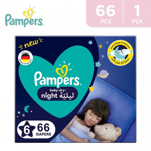Pampers Baby - Dry Night Diapers Size 6 (14+ Kg) 66 Pieces