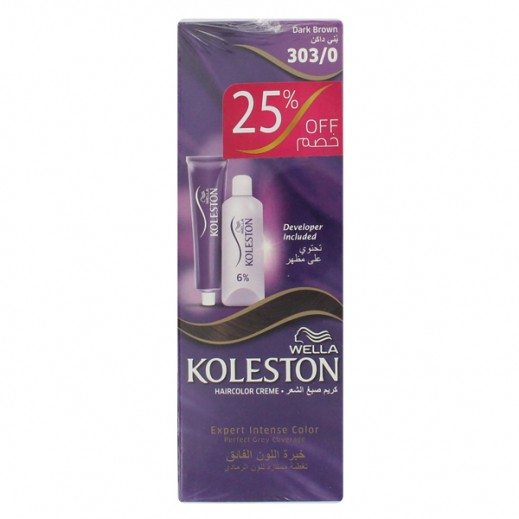 Koleston Dual Pack Hair Colour Creme Dark Brown 303/0 (25% off) Prom