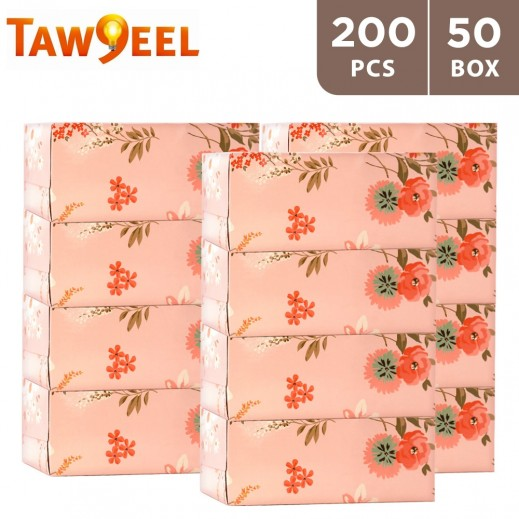 Taw9eel 200 Facial Tissues Vintage Flower 10 x 5 Boxes