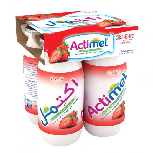 Actimel Strawberry Fruit Drink 4x93 ml