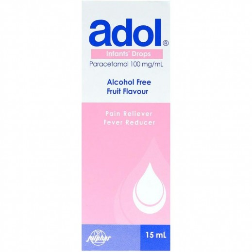 Adol Pain Reliever Fever Reducer Paracetamol 100 mg Infant's Drops 15 ml