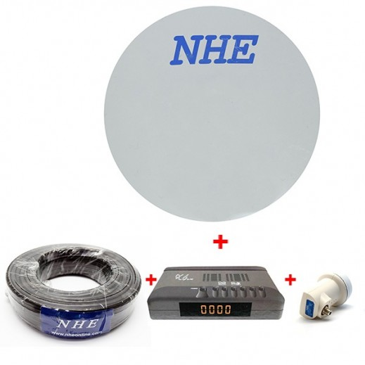 NHE Satellite Bundle: Receiver, Dish, LNB & Cable