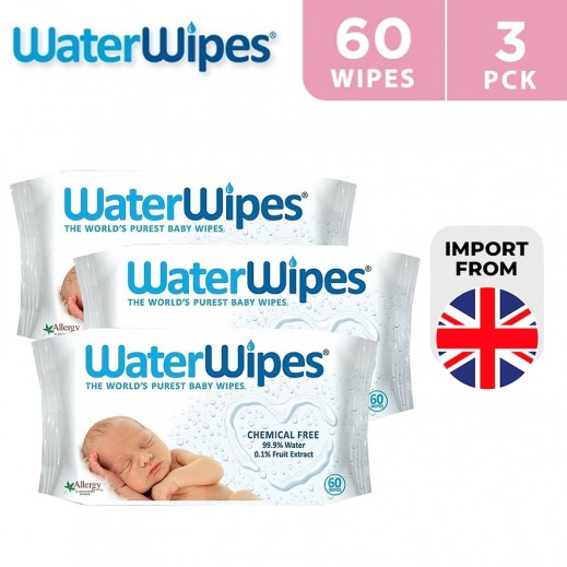 WaterWipes Sensitive Baby Wet Wipes Natural & Chemical Free (3 x 60 Wipes)