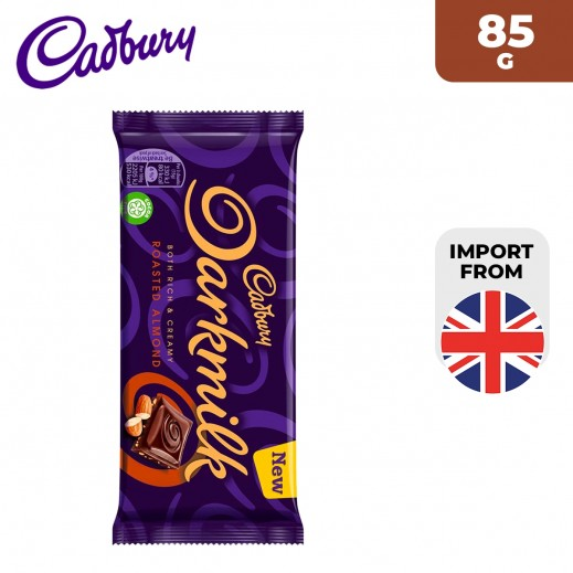 Cadbury Dark Milk Roasted Almond Chocolate Bar 85 g