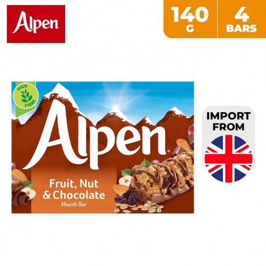 Alpen Fruit, Nut and Chocolate Cereal Bar 4 x 140 g