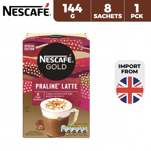 Nescafe Gold Praline Latte Instant Coffee 144 g (8 Sachets)
