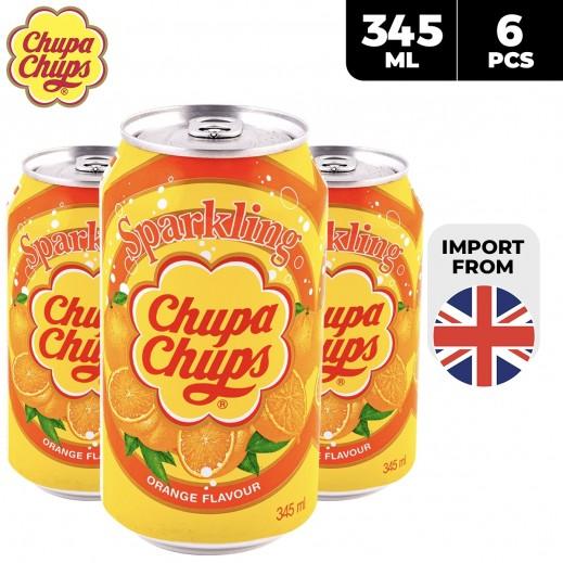 Chupa Chups Sparkling Orange Flavour Drinks Can 6 x 345 ml