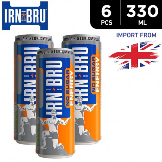 IRN BRU Energy No Sugar Drink Can 6 x 330 ml